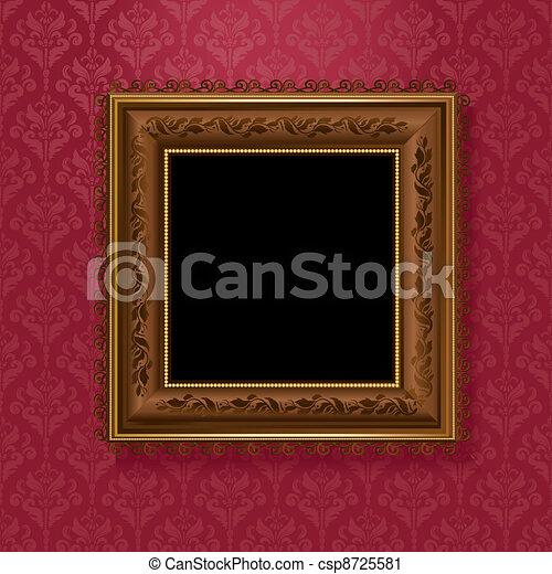 picture frame on vintage wallpaper - csp8725581