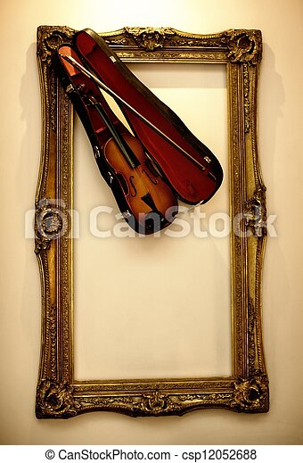 Picture frame with a violin - csp12052688