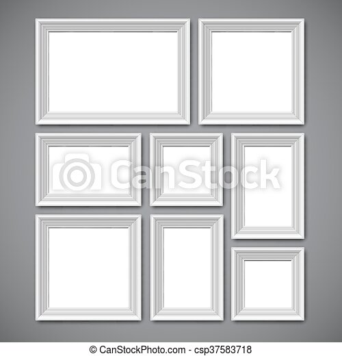 Picture frames collage. Collafe of white picture frames or borders ...