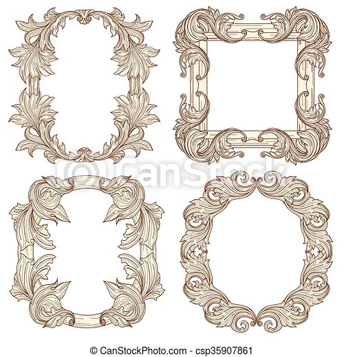 Picture frames in baroque antique style. vector engraving retro ...