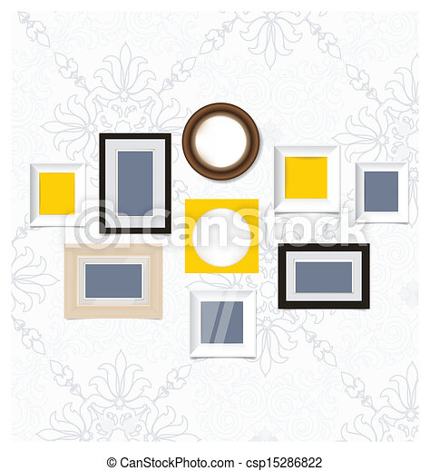 Picture frames, photo art gallery on vintage wall. vector eps10.