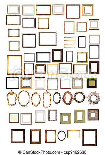 picture gold frames with a decorative pattern - csp9462638