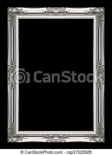 Picture gray frame isolated on black background - csp37022928