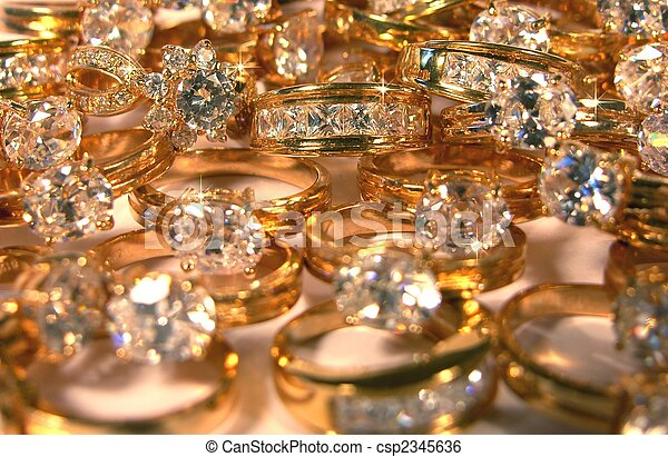 picture of a lot of rings with big diamonds - csp2345636