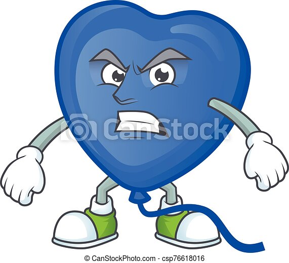 Picture of blue love balloon cartoon character with angry face - csp76618016