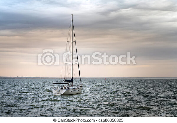Picture of boat with a mast at sea - csp86050325