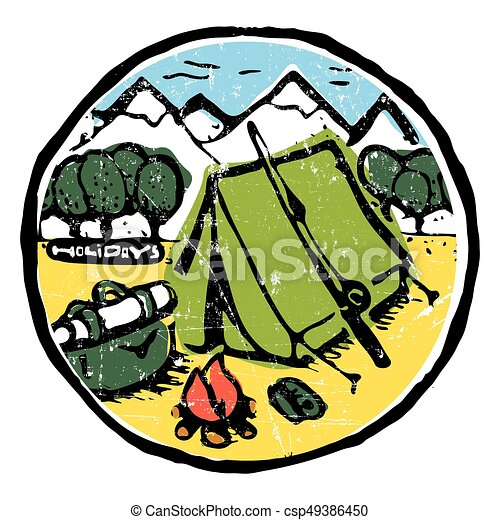 Picture of  camping in the woods. Nature and resting. Emblem, label. - csp49386450
