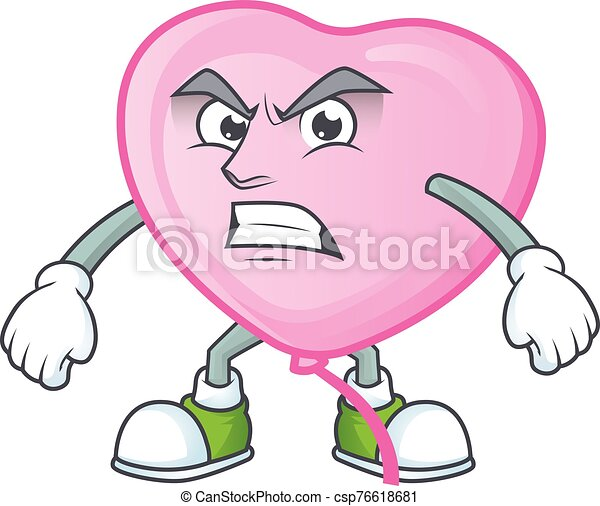 Picture of pink love balloon cartoon character with angry face - csp76618681