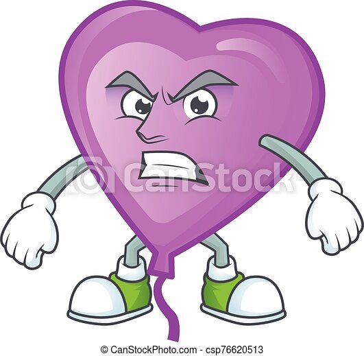 Picture of purple love balloon cartoon character with angry face - csp76620513