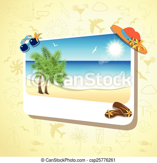 Picture of the sand beach landscape with palm branches on colorful background. - csp25776261