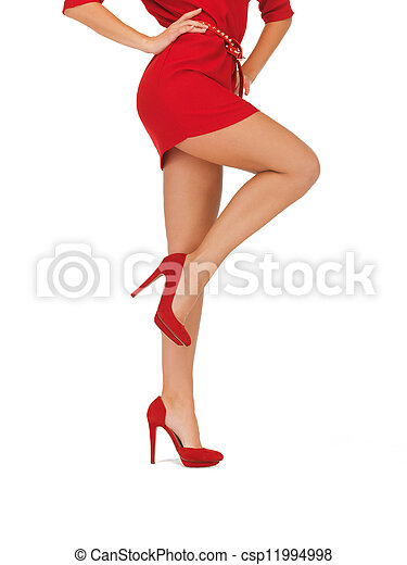 picture of woman in red dress on high heels - csp11994998