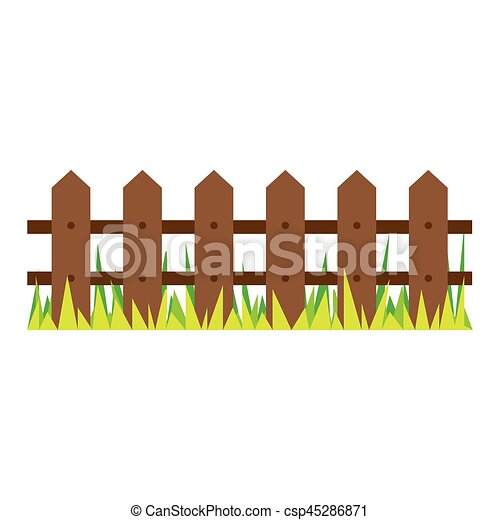 picture wooden fence and grass design - csp45286871