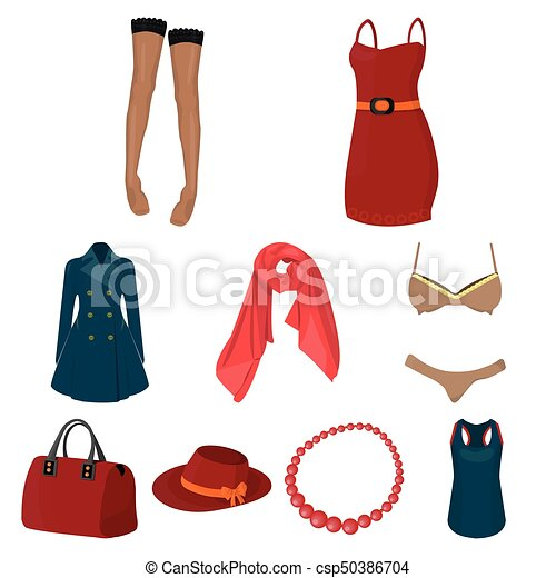 Pictures About Types Of Women S Clothing Outerwear And Underwear For Women And Girls Woman Clothes Icon In Set Collection