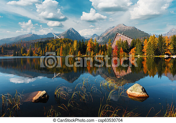 Picturesque autumn view of lake Strbske pleso in High Tatras National Park - csp63530704