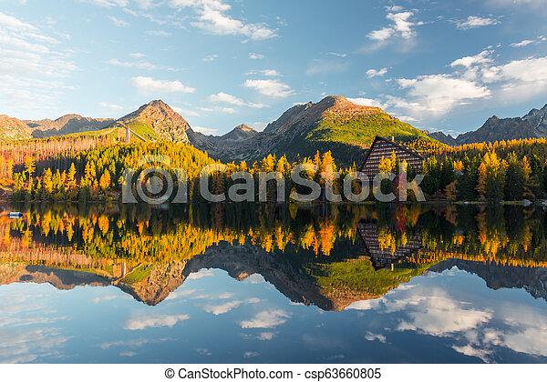 Picturesque autumn view of lake Strbske pleso in High Tatras National Park - csp63660805