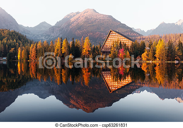 Picturesque autumn view of lake Strbske pleso in High Tatras National Park - csp63261831