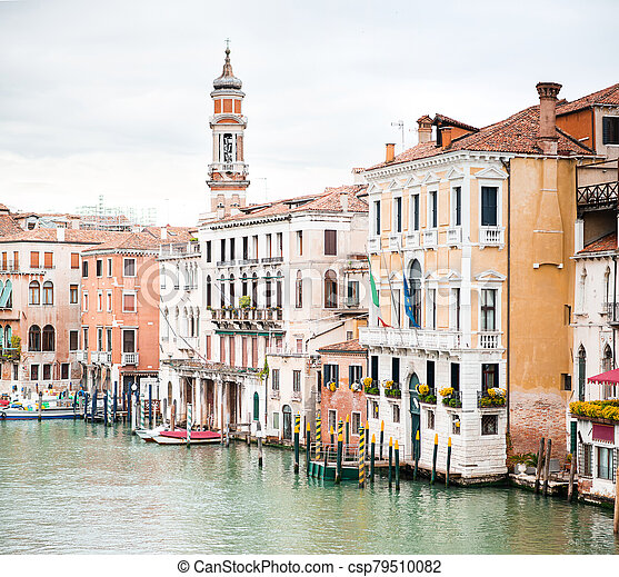 Picturesque Cityscape of Venice. Old Buildings on Grand Canal. Italy. Cloudy Sky. - csp79510082