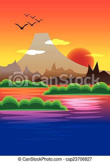 picturesque sunset behind volcano mountain vector illustration rh canstockphoto com Mountain Lake Scene Clip Art Rocky Mountain Clip Art