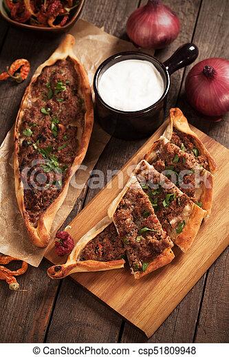 Pide Pizza ähnlich Mahlzeit Türkisch Turkish Essen Pide