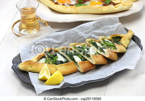 Pide Pizza Spinat Türkisch Spinat Türkisch Traditionelle