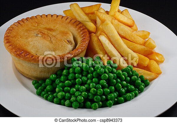 Pie and chips with peas.  - csp8943373