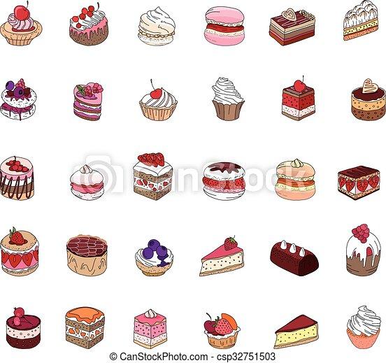 pie., anders, set, soorten, muffin, restaurant, menu., ontwerp, macaroon, aankondigingen, taart, dessert:, jouw, affiches, postkaarten - csp32751503