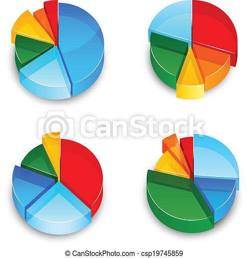 Pie Chart 3d Icons Set - csp19745859
