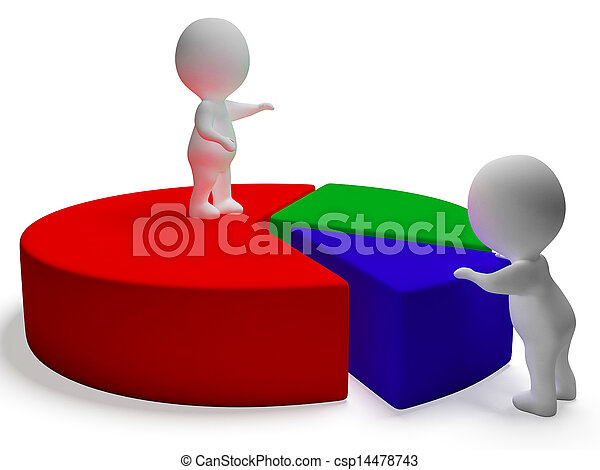 Pie Chart And 3d Characters Representing Statistics Report - csp14478743