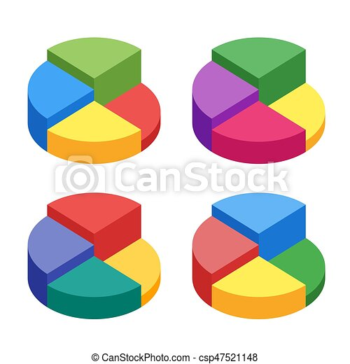 Pie Chart On Isolated Background Set Of Bulk Isometric Pie Charts