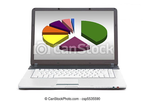 pie chart on the screen of notebook - csp5535590