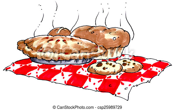 pie baked goods on a red checker table cloth clip art search rh canstockphoto com baked goods clipart black and white baked goods clipart free