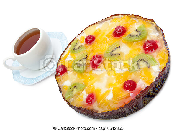 Pie fruit and a cup of tea - csp10542355