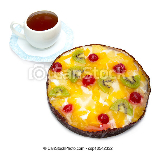 Pie fruit and a cup of tea - csp10542332