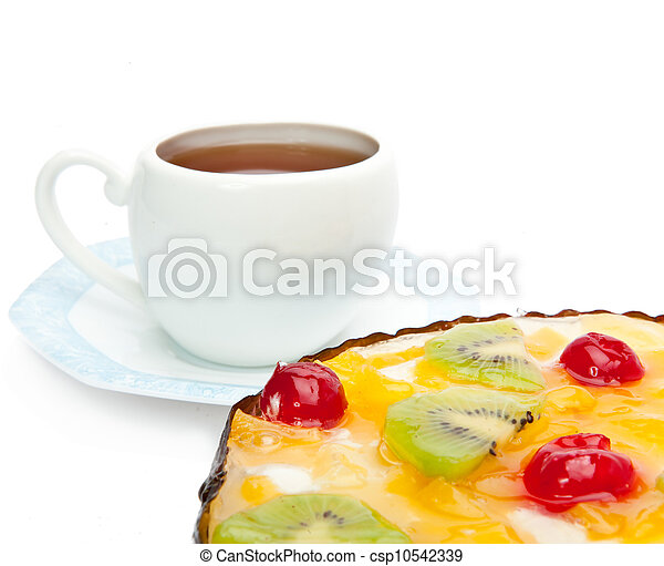 Pie fruit and a cup of tea - csp10542339