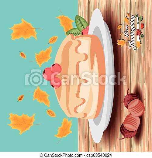 pie of thanksgiving day with garlands - csp63540024