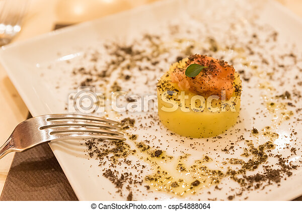 Pie with potatoes and fish - csp54888064