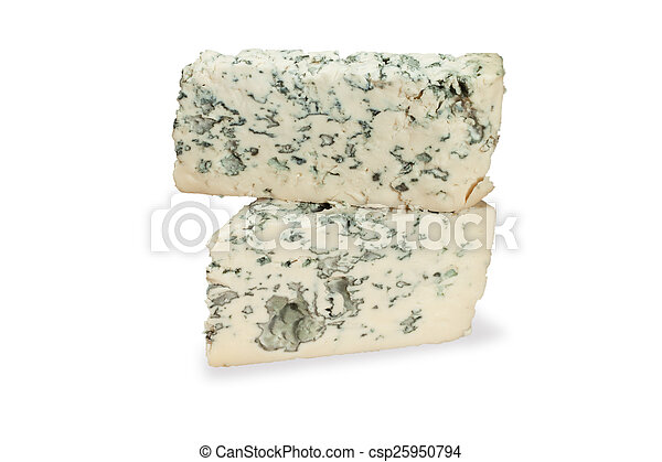 piece of blue cheese on white - csp25950794