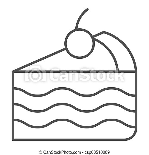 Piece of cake thin line icon. Sweet vector illustration isolated on white. Pie outline style design, designed for web and app. Eps 10. - csp68510089