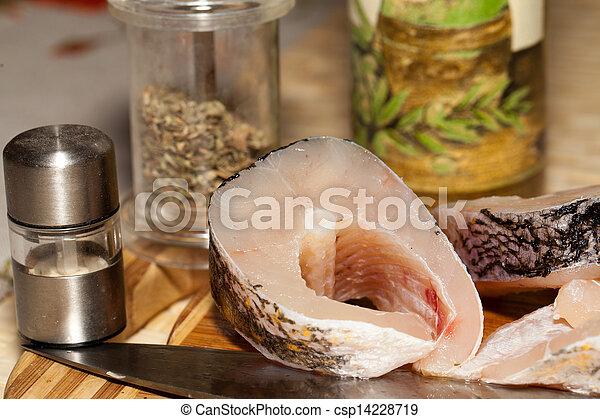 Piece of fresh raw fish. The healthy diet. - csp14228719