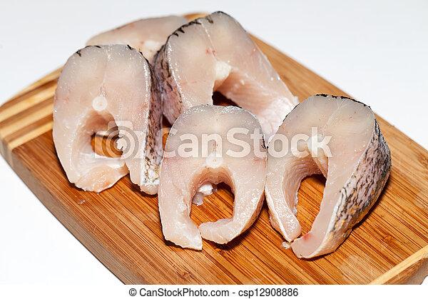 Piece of fresh raw fish. The healthy diet. - csp12908886