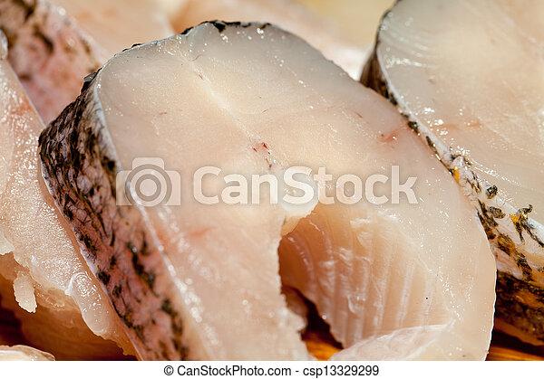 Piece of fresh raw fish. The healthy diet. - csp13329299