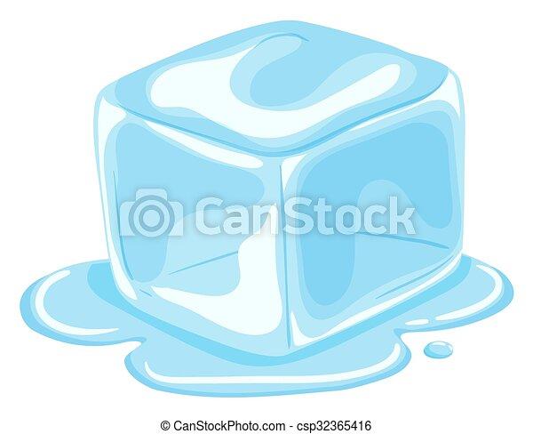 Piece of ice cube melting - csp32365416