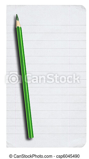 piece of lined paper and pencil on white - csp6045490