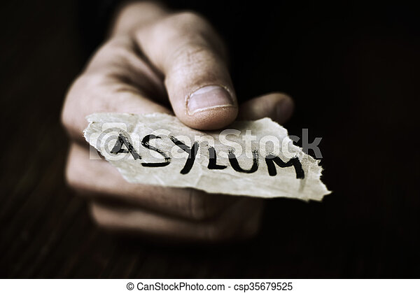 piece of paper with the word asylum - csp35679525