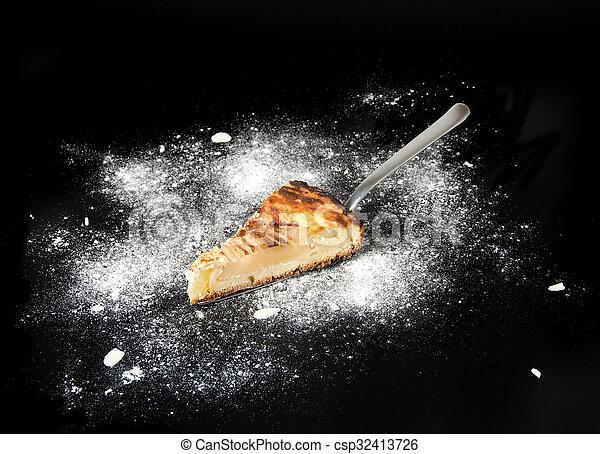 Piece of pear pie - csp32413726