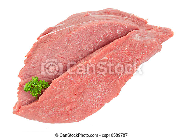 Piece of raw beef with parsley - csp10589787