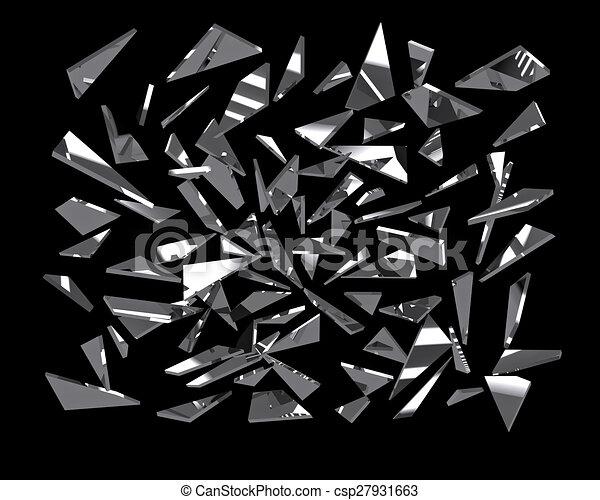 Pieces of broken mirror glass over black 3d render stock for Broken mirror art