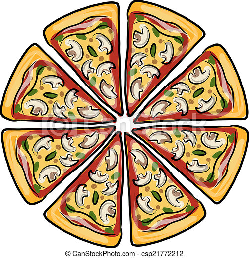 Pieces of pizza, sketch for your design - csp21772212
