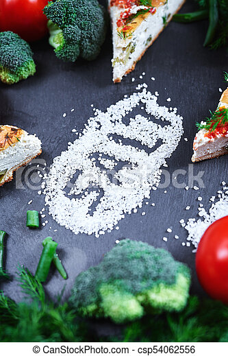 pieces of vegetable pie with cottage cheese, tomatoes, dill and asparagus beans on a dark ceramic background. - csp54062556