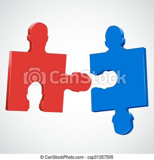 pieces., opgave, anføreren, farverig, menneske - csp31357505